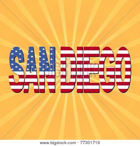 San Diego flag text with sunburst illustration