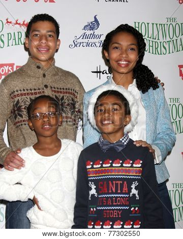 LOS ANGELES - NOV 30:  Marcus Scribner, Marsai Martin, Miles Brown, Yara Shahidi at the 2014 Hollywood Christmas Parade at the Hollywood Boulevard on November 30, 2014 in Los Angeles, CA