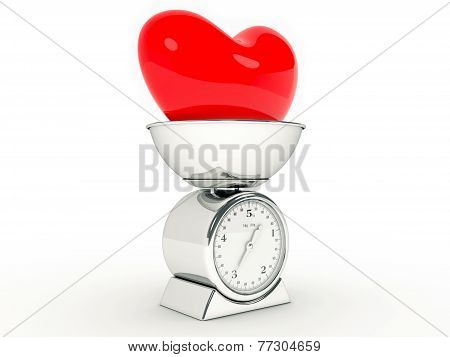 kitchen scale with giant heart