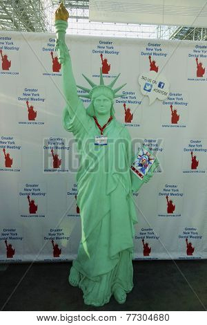 Statue of Liberty with visitors ID at the Greater NY Dental Meeting