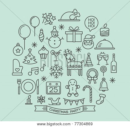 Christmas Party Elements Outline Icons Set