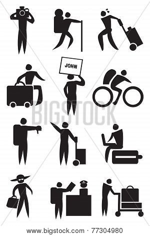 Airport Activities And Travel Icon Set In Black And White