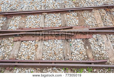 Close Up Of Train Track, Spike, And Wooden Railroad Tie.