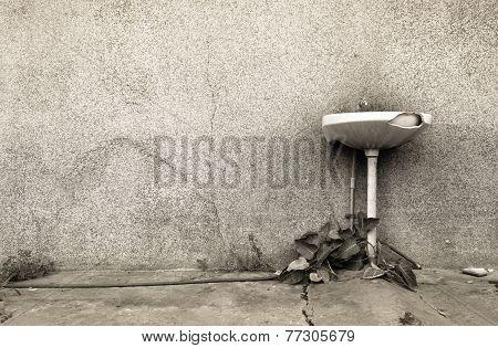 Leak And Ruin Sink In Dirty Old Bathroom