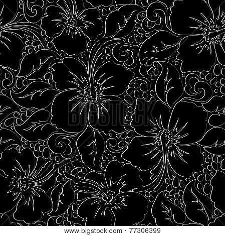 Tropical Hibiscus With Black Background Seamless Pattern