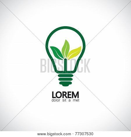 green energy icon with light bulb & leaves - concept vector.