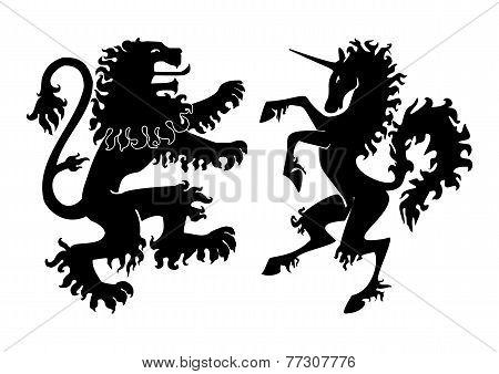 Heraldic Lion And Unicorn Vector