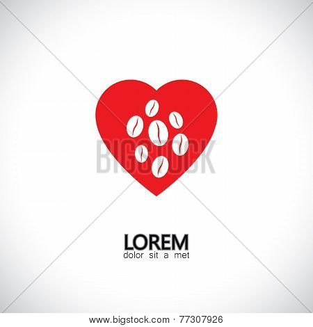 Love For Coffee Beverage Drink - Concept Vector Graphic