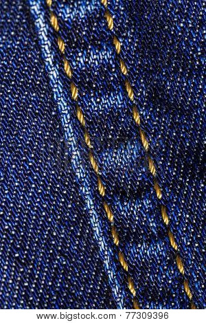 Macro close-up of denim jeans