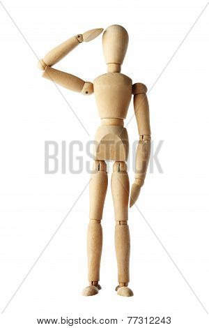 mannequin old wooden dummy similar respect of police and military isolated on white