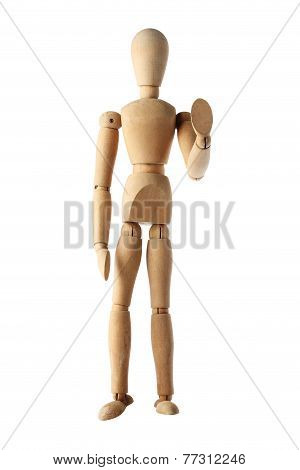 mannequin old wooden dummy similar monk stop acting isolated on white