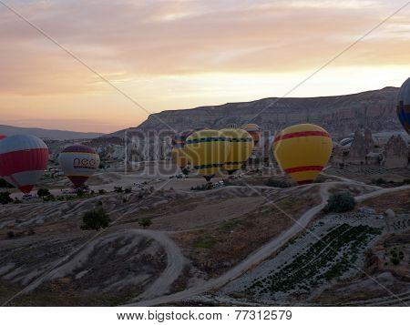 Cappadocia Turkey.The greatest tourist attraction of Cappadocia the flight with the balloon at sunri