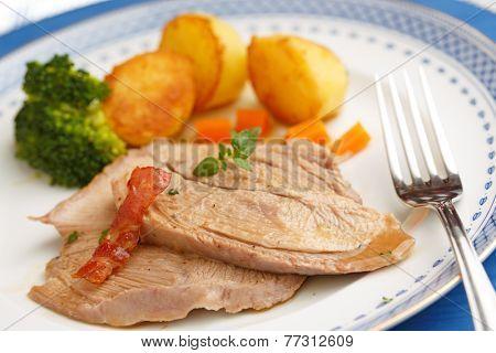 christmas dish of sliced roasted turkey-shallow DOF