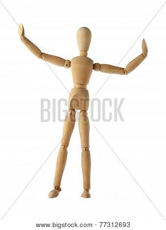mannequin old wooden dummy similar referee boxing sports isolated on white