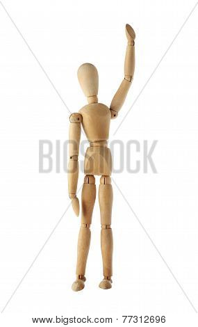 mannequin old wooden dummy winning and finish acting isolated on white