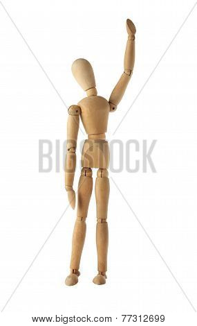 mannequin old wooden dummy wining and finish acting isolated on white
