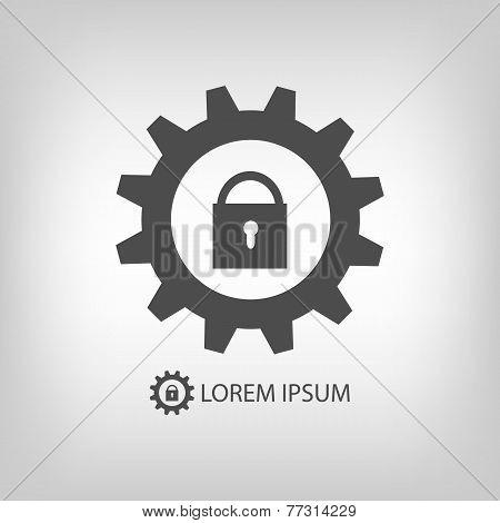 Gear wheel with lock as logo