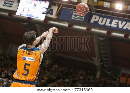 VALENCIA, SPAIN - NOVEMBER 23:  Ribas during Spanish League game between Valencia Basket Club and Unicaja Malaga at Fonteta Stadium on November 23, 2014 in Valencia