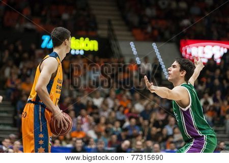 VALENCIA, SPAIN - NOVEMBER 23:  Lucic with ball during Spanish League game between Valencia Basket Club and Unicaja Malaga at Fonteta Stadium on November 23, 2014 in Valencia