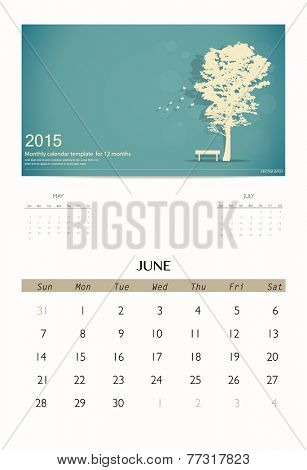 2015 calendar, monthly calendar template for June. Vector illustration.