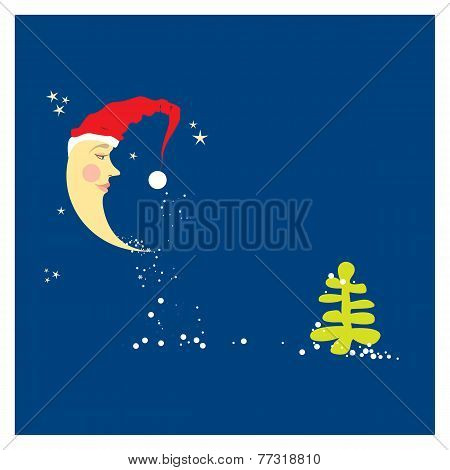 crescent moon in a Christmas hat