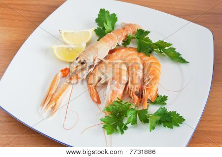 Dish With Prawn And Shrimps