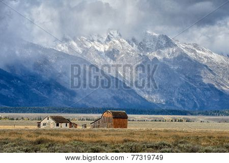 Dark clouds  over Mormon Row in Grand Teton