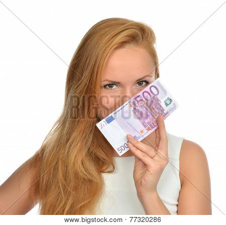 Happy Young Woman Holding Up Cash Money Five Hundred Euro
