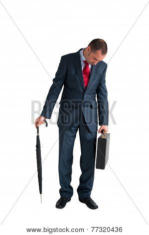 Exhausted Businessman Isolated White Background