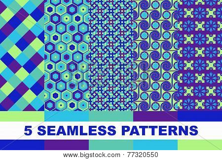 Set Of Colorful Geometric Patterns
