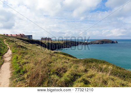 Path on Newquay coast Cornwall England UK