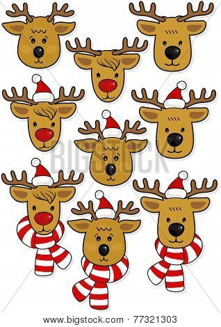 Reindeers faces, in Santa Claus hats and in hats and scarfs Christmas winter holidays animal set