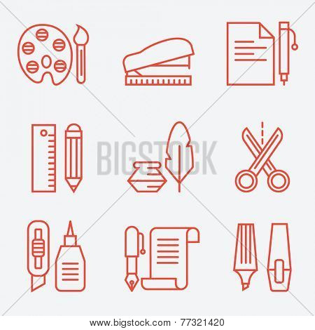 Stationery icons, thin line style, modern flat design