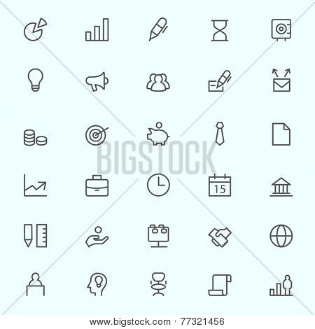 Business, finance and marketing icons, simple and thin line design