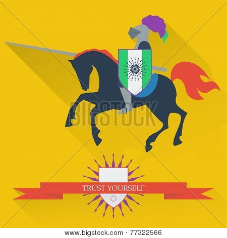 Illustration With Riding On Horseback Brave Knight Made In The Trendy Flat Style