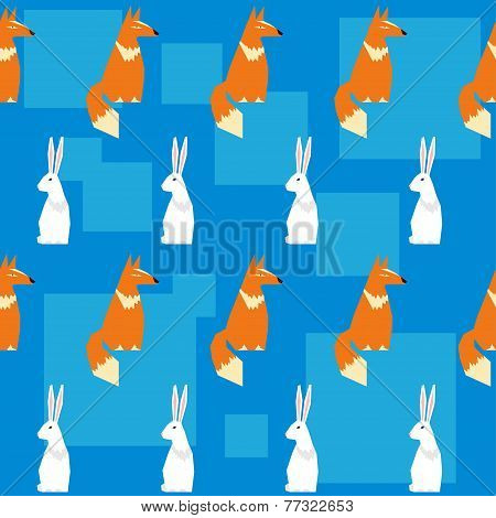 Abstract Geometric Vector Seamless Pattern Backround With Funny Fox And Rabbit