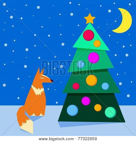 Bright Colored Winter Holidays Card Background With Funny Cartoon Fox And Spruce