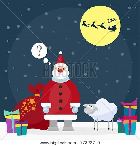 Funny Cartoon Winter Holidays Background With Santa And Cute Sheep, The Symbol Of The New Year Of Th