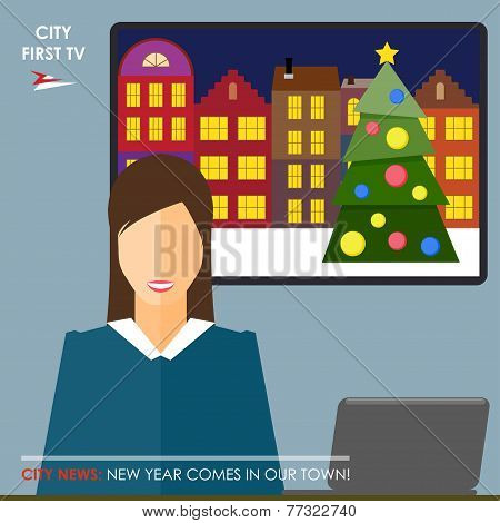 Conceptual Illustration On The Theme Of Winter Holidays With A Journalist, Leading The Report About
