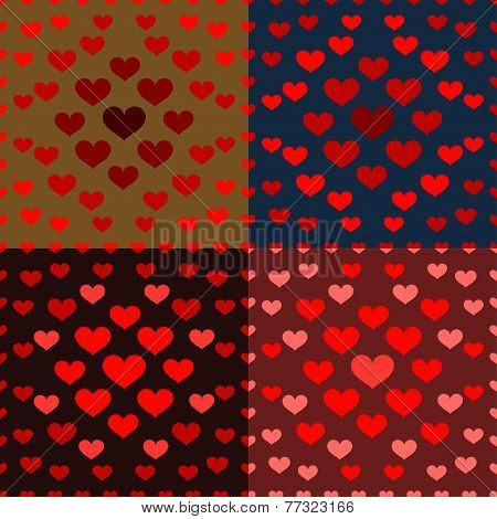 Bright Colored Cartoon Hearts Vector Seamless Pattern On The Dark Cover