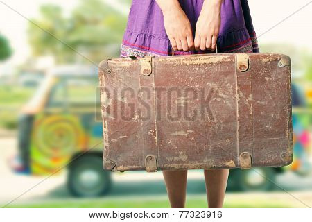 Hippie Girl With Old Suitcase On A Road Trip
