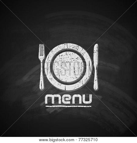 vintage chalkboard menu design with plate, fork and knife