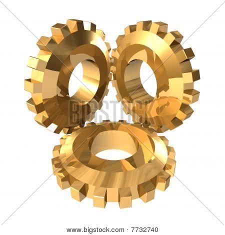 Three big gold gears