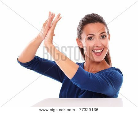 Smiling Pretty Female Clapping In Victory