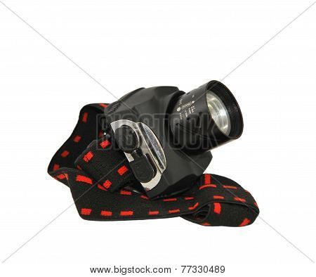 Headlamp Flashlight With An Elastic Band Isolated On White.