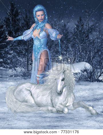 Snow Fairy and Unicorn
