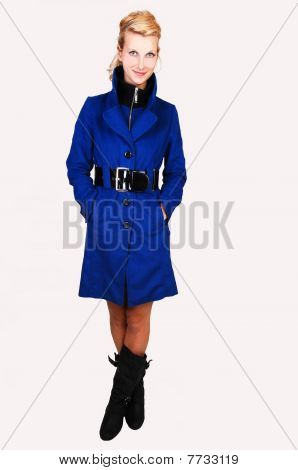Pretty Lady In Blue Coat.