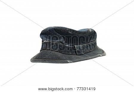 Dark Blue Denim Hat Isolated On White