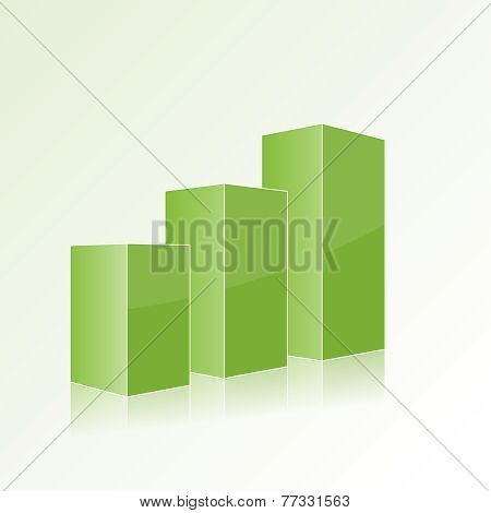 Green step by step chart with positive growth.