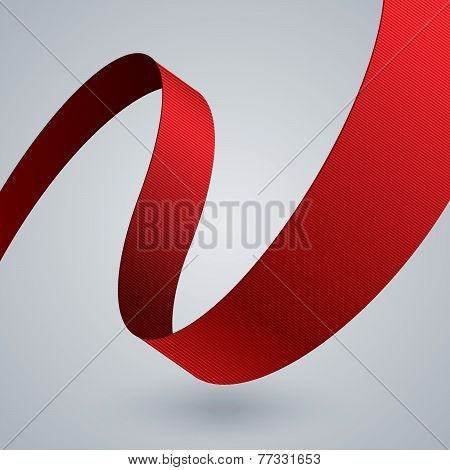 Red curved ribbon on grey background